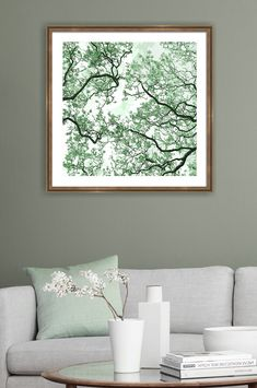 Green and white nature wall art prints for the elegant decoration of home and office interiors. Click through for high quality acrylic, metal, canvas and framed prints of this image in different sizes. Wall Art Prints, Framed Prints, Summer Trees, White Wall Art, Tree Canopy, Tree Wall Art, Abstract Nature, Wooden Jewelry Boxes, Green Gemstones