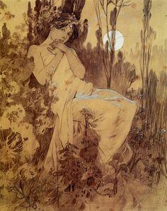 """womeninarthistory: """"Moonlight, Alphonse Mucha """""""