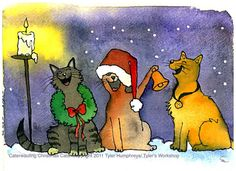 Cats Christmas Greeting Card - Funny Cats Watercolor Painting Illustration Print 'Caterwauling Christmas Cats'