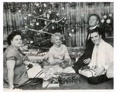 Laura M.- Gladys Presley, Elvis's girlfriend, Dottie Harmony, Vernon Presley, and Elvis - Memphis, December 1956