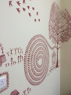 Warli wall decor at Nnazaquat Worli Painting, Indian Folk Art, Wall Decor, Wall Art, Tribal Art, Decoration, Art Drawings, Projects To Try, Antiques