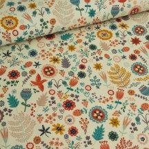 Cotton Fabric Foxy Meadow -  Retro, Vintage Shabby Chic- Teal, Orange, Violet -  Yard, Fat Quarter