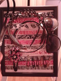 Head band, hair clip, and sunglasses holder from cheap picture frame and ribbon