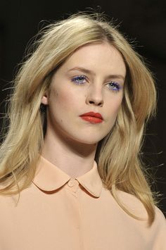 blue mascara + red lip at gabriele colangelo fall 2012