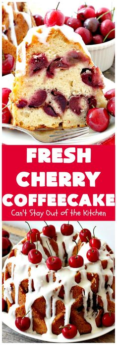 Fresh Cherry Coffeecake | Can't Stay Out of the Kitchen | this heavenly #coffeecake is perfect for #holiday, company or family #breakfasts or for #dessert. It tastes absolutely amazing. #cherries