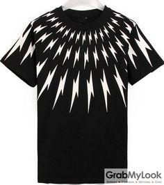 GrabMyLook Thunder Lightning Symbol Mens Black White Round Neck Short Sleeves T-Shirt Summer Beach Wear
