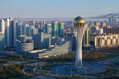 Kazakhstan, Astana, View of City Center looking towards Bayterek Tower
