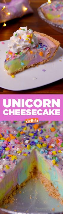 This Unicorn Cheesecake tastes just as magical as it looks. Get the recipe from Delish.com.