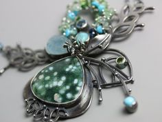 Sprouting Garden Necklace with Tahitian Snow Agate, Aquamarine and Blue Topaz