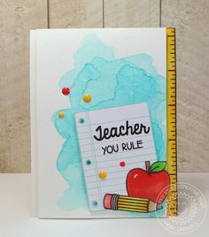Sunny Studio: School Time You Rule Watercolor Teacher Card by Heidi Criswell Handmade Teachers Day Cards, Teacher Thank You Cards, Handmade Birthday Cards, Greeting Cards Handmade, Teacher Gifts, Birthday Card Drawing, Feather Cards, Studio Cards, Clear Stamps
