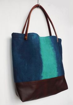 Emerald and Indigo Tote Bag - Linen and leather market bag, fully lined with interior pockets, leather straps and brass rivets- tote bag with leather bottom - laptop bag - diaper bag - unique ooak tote - perfect for work or everyday use - handmade and made in America - gift idea for her
