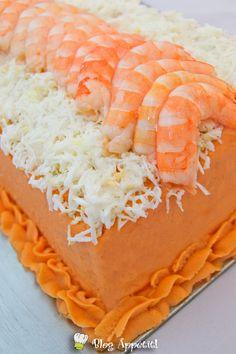 Pastel frío de pan y marisco
