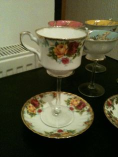 I love this its so cute! Tea Cup Wine Glass by abby231 on Etsy, $35.00