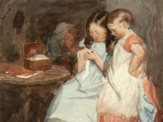 Edward Thompson Davis (1833-1867): The Crochet Lesson, watercolour study (1859).