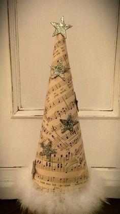 Cute Christmas craft for a music teacher !possibly as a gift ! Fabric Christmas Trees, Christmas Tree Crafts, Rustic Christmas, Christmas Themes, Holiday Crafts, Xmas Tree, Christmas Decorations, Christmas Ornaments, Christmas Hacks