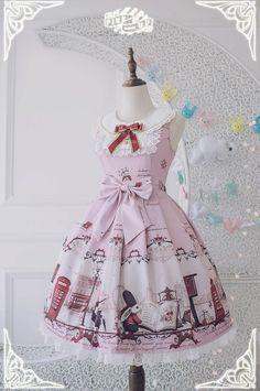 Pink Up -Bunnies In London- Sweet Lolita Collar Jumper Dress