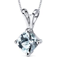 Oravo 14k White Gold Cushion-cut Gemstone Pendant ($119) ❤ liked on Polyvore featuring jewelry, pendants, blue, chain pendants, white gold pendant, 14k pendant, gemstone jewelry and charm pendant