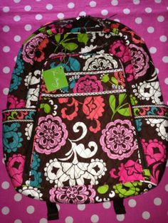 3535c5f6f5 New vera bradley lola pink brown laptop backpack school book duffle tote bag  nwt