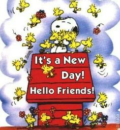 It's a New Day - Hello Friends - Snoopy Sitting on Top of His Doghouse Surrounded by Woodstock and Friends Meu Amigo Charlie Brown, Charlie Brown And Snoopy, Peanuts Cartoon, Peanuts Snoopy, Cartoon Cartoon, Friday Cartoon, Penguin Cartoon, Cartoon Sketches, Peanuts Characters