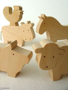 Farm Animal Set - Waldorf wooden toys - Farm animals and boy
