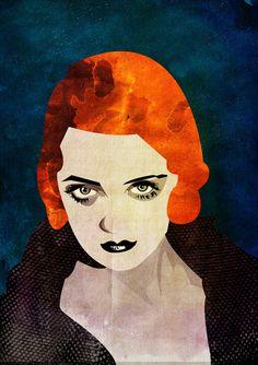 """Bette Davis"" - Alvaro Tapia Hidalgo {abstract female head woman face portrait mixed media digital painting}"