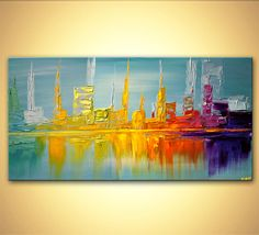 Modern 48 x 24 ORIGINAL City Lights Acrylic by OsnatFineArt, $600.00