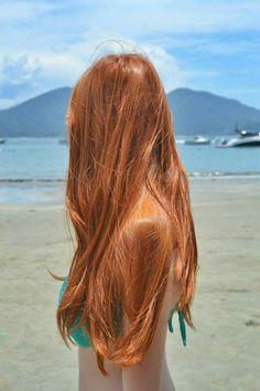 Long red hair orange