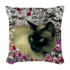 Stella Chocolate Point Siamese Woven Throw Pillow #sold #cat #Siamese #pillow