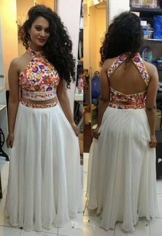 *NAVARATRI* For crop top lovers 😍😍 Code : FB > 81 *Shipping Extra* Fabric : ⏭ Georget lehnga with 3 meter flair ⏭ Banglori satin digital print blouse ( unstitch ) Ready to ship ✅ Choli Designs, Fancy Blouse Designs, Blouse Neck Designs, Lehenga Designs, Indian Designer Outfits, Designer Dresses, Indian Dresses, Indian Outfits, The Dress
