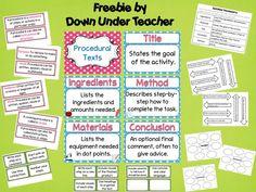 Down Under Teacher: Procedural Text Freebie