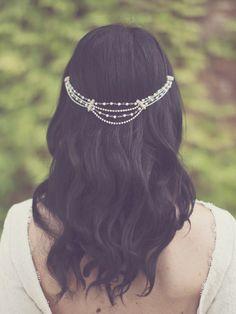 Bridal pearl hair chain, bohemian bride accessories by Elibre handmade