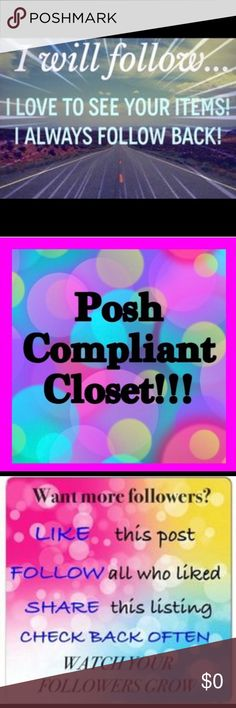 💙 FOLLOW ME, I WILL FOLLOW YOU BACK💙 💕Follow Me And I Will Follow You Back💕 Stop by my closet, I will surely stop by yours. Networking and Sharing is the Posh Way😊 Come on, Let's Do this👍🏽 Some of my Greatest finds have been in my Posh Families closet. I LOVE POSHING😍 Cheap Monday Other