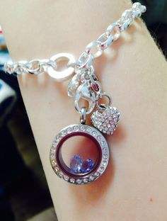 Origami Owl bracelet. Mini locket with birthstones and heart dangle.