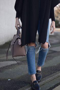 Gucci slingback horsebit loafers with Celine belt bag!
