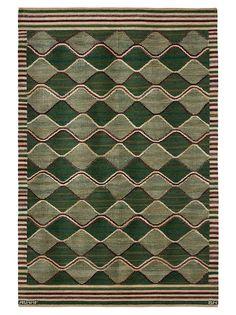 SPÄTTAN, GRÖN  Designed by Barbro Nilsson in 1943 #MMF #MärtaMååsFjetterström #MartaMaas #BarbroNilsson #Handwoven #Handmade #Flatweave #Rug #Rugs #SwedishCarpets #SwedishDesign