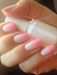 Pink gradient nails...just a touch of pink