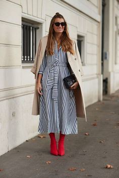 Stripe dress, neutral coat and red sock boots