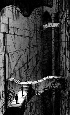 One of the panels of manga book Blame!, created by Tsutomo Nihei. Environment Concept, Environment Design, Japon Illustration, Cyberpunk Art, Environmental Art, Sci Fi Art, Architecture, Manga Art, Comic Art