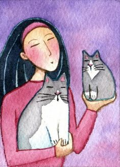 Cat Lady Gray Cat and Kitten Original ACEO by SusanFayePetProjects, $18.00