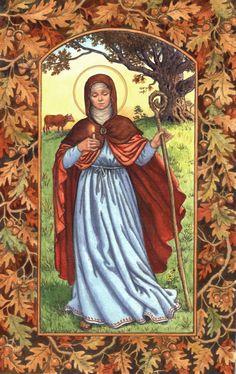 Saint Brigid of Kildare, by artist Ruth Sanderson Religious Images, Religious Art, Jesus In The Temple, St Brides, Triple Goddess, Celtic Art, Catholic Saints, Sacred Art, Artist