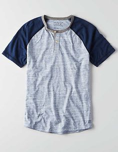 AEO Athletic Baseball Henley , White | American Eagle Outfitters