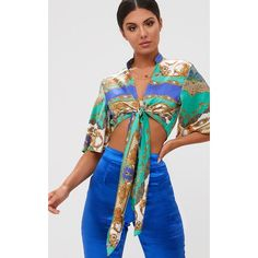 Blue Scarf Print Flare Sleeve Tie Front Crop Top ($11) ❤ liked on Polyvore featuring tops, blue, flared sleeve crop top, blue crop top, blue print top, print crop tops and scarf print top