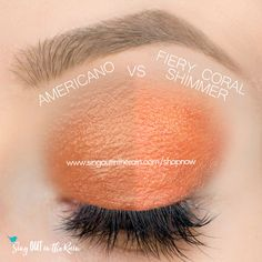 Fiery Coral and Americano ShadowSense side by side comparison.  These long-lasting SeneGence eyeshadows help create envious eye looks.  #eyeshadow #shadowsense