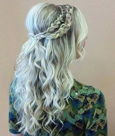 Teased Half Updo with Braids