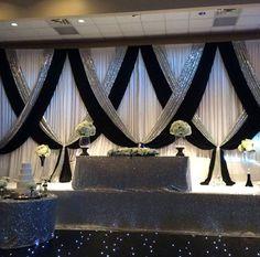 Amazing head table decor from Jeff & Tasha's wedding at Riverside Banquet Halls