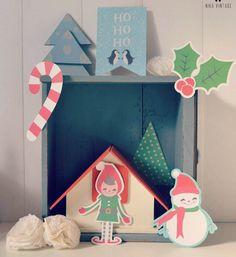 decoracion navidad casita de madera y tonos azules