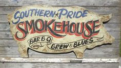 BBQ Sign  wooden original  smokehouse pig trade sign advertising art brew blues #Americana