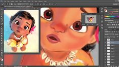 Moana Disney character digital Painting    Speed Painting video