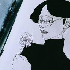 From my one week sketchbook   .  .  .  .  .  .  .  .  .  .  #daisy #blackandwhite #inkonpaper #ink #fudepen #ふて寝  #pentel #comic #feelings #melancholia #chineseink #drawing #inkdrawing #イラスト #illustration #art #artist #artistic #mood #likeback #likeforlike #l4l #tumblr #instaart #manga  #likesback #followme #pilot #fountainpen #flowerboy