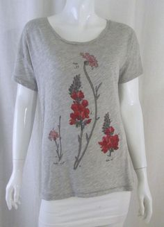 J. CREW COLLECTOR TEES Grey Flower Graphic Cotton Blend T-Shirt Tee Top Small #JCrew #GraphicTee